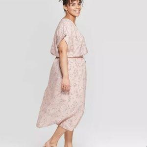 Ava & Viv faux wrap short sleeve floral dress, NWT